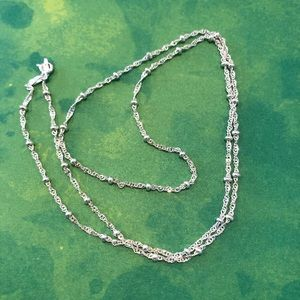 "22"" 925 bright silver beaded chain. From Italy"